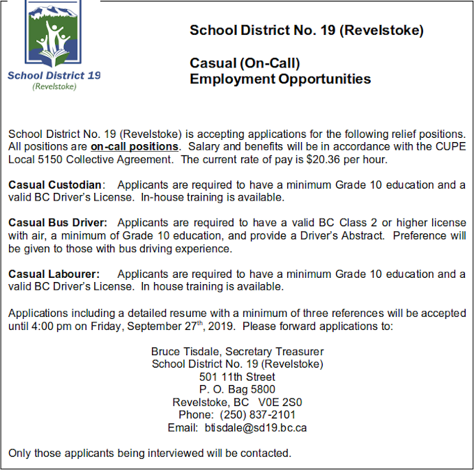 School District casual job offerings