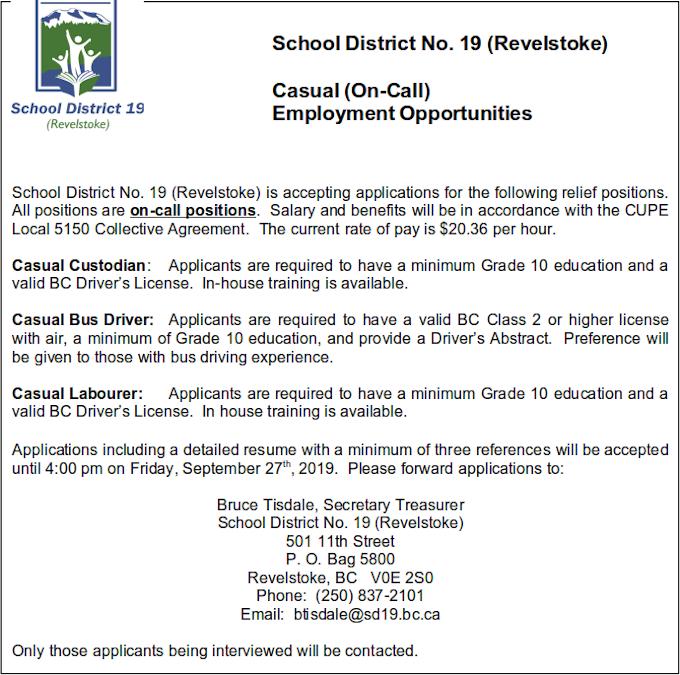 School District casual job offerings